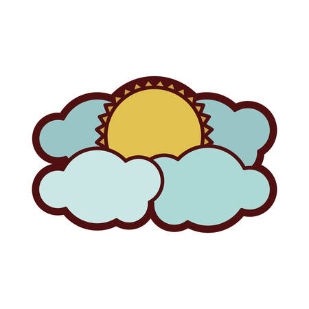 clouds: Colorful thick silhouette with sun between clouds vector illustration