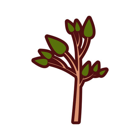 Colorful thick silhouette of small tree with leafs vector illustration