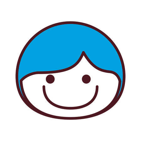 Hand drawing silhouette front face boy with blue hair smiling vector illustration.