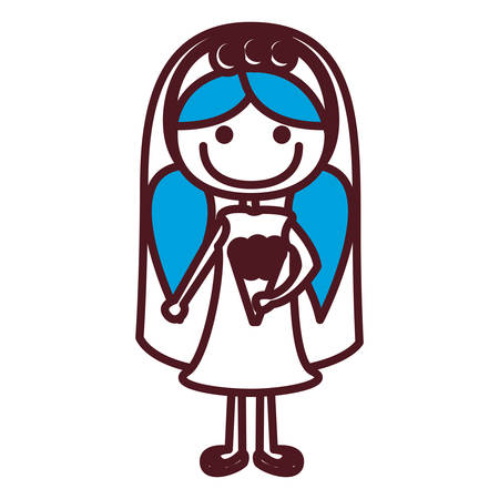 pigtail: Hand drawing silhouette caricature woman in wedding dress with blue pigtails hairstyle vector illustration Illustration