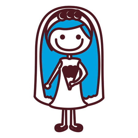 Hand drawing silhouette caricature woman in wedding dress with blue long hair vector illustration Illustration