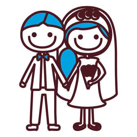 Hand drawing silhouette caricature groom with formal suit and bride with blue side hairstyle vector illustration.