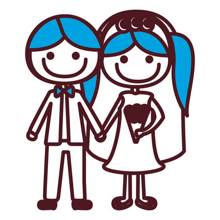 Hand drawing silhouette caricature groom with formal suit and bride with blue pigtails vector illustration.