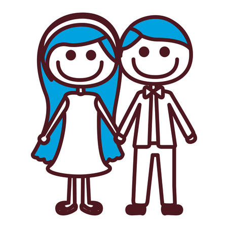 taken: Hand drawing silhouette caricature couple with blue hair vector illustration