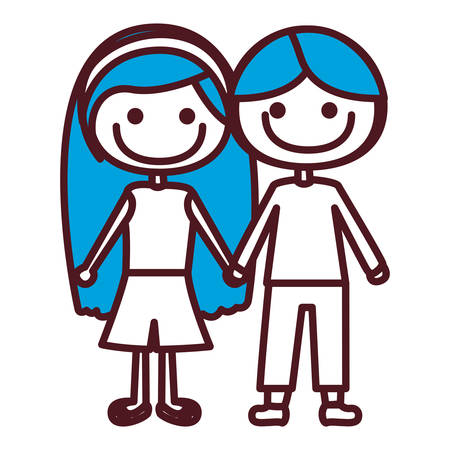 Hand drawing silhouette caricature couple kids with blue hair in casual clothes taken hands vector illustration Illustration