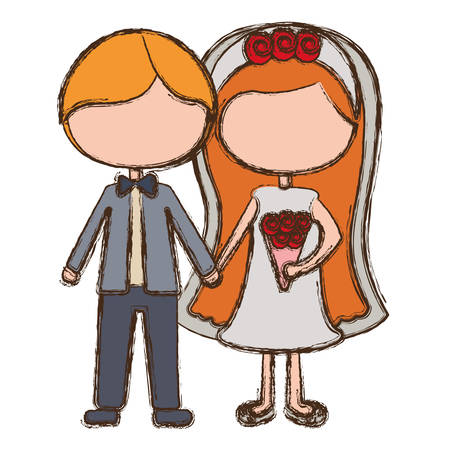 Bride and groom cartoon vector Illustration