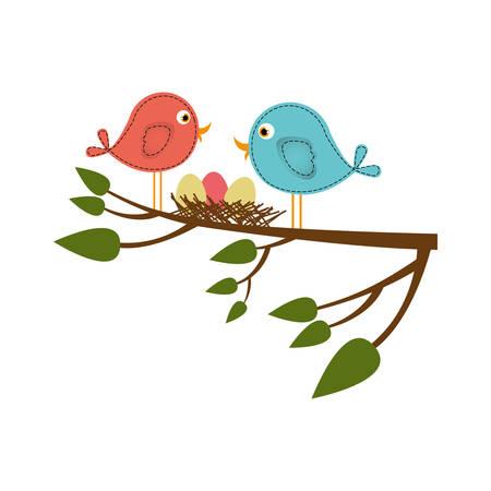 paloma caricatura: Colorido silueta de los pájaros y el nido en la rama de un árbol en primer plano ilustración vectorial