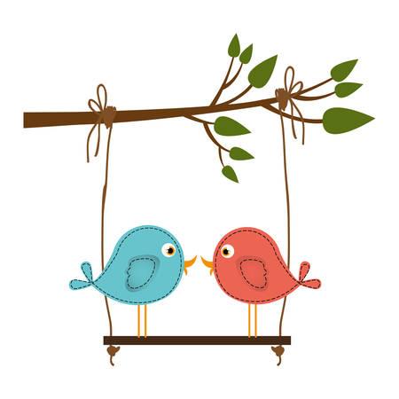 paloma caricatura: Colorido silueta de la rama de un árbol con swing y par de aves en primer plano ilustración vectorial
