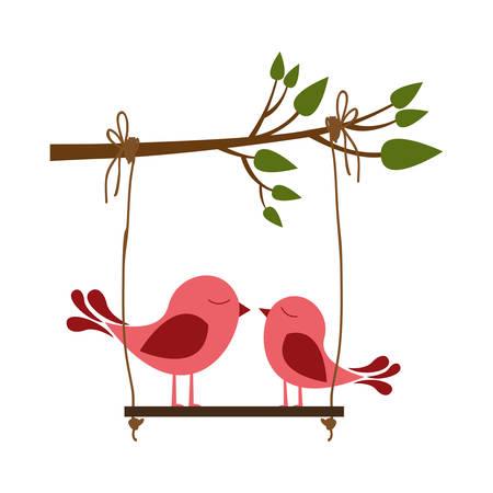 paloma caricatura: Colorido silueta de rama de árbol con swing y par de aves ilustración vectorial Vectores