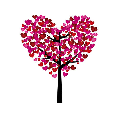 colorful silhouette of tree with leaves in shape of heart vector illustration