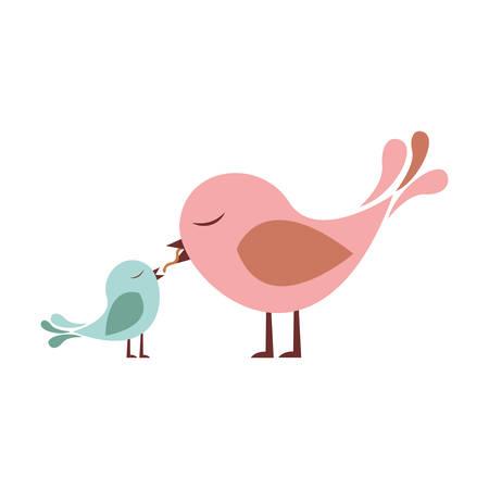 paloma caricatura: Colorido silueta de la alimentación de un pájaro chick ilustración vectorial