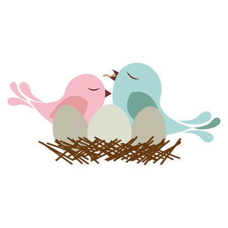 paloma caricatura: colorida silueta del pájaro en el nido con los huevos y el polluelo ilustración vectorial Vectores