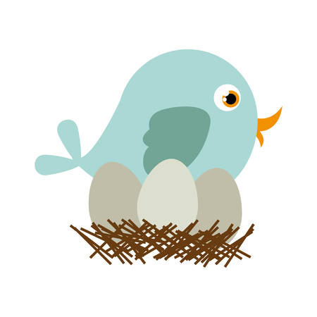 swinging: Blue bird silhouette in nest with eggs vector illustration