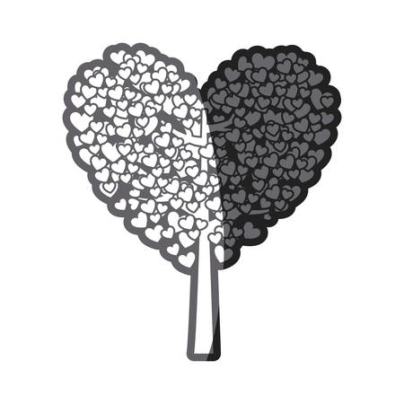 grayscale thick silhouette of tree with leaves in shape of heart vector illustration