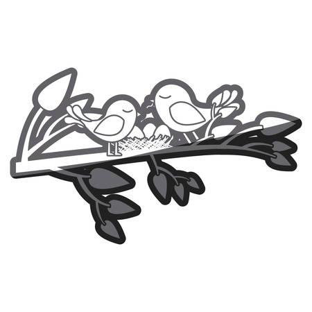 Silhouette épaisse en niveaux de gris d'oiseaux et nid en illustration vectorielle de branche d'arbre Banque d'images - 76598911