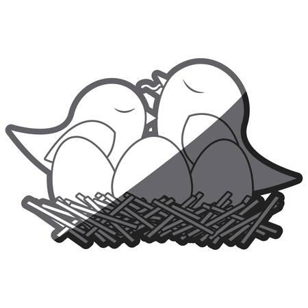 paloma caricatura: escala de grises silueta gruesa de aves en el nido con los huevos y el polluelo ilustración vectorial