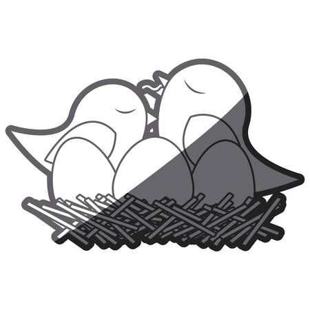 nest egg: grayscale thick silhouette of bird in nest with eggs and chick vector illustration