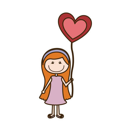 colorful caricature of smiling girl with dress and long hair with balloon in shape of heart vector illustration Illustration