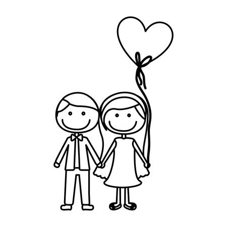boy long hair: monochrome contour caricature of couple him in formal suit with tie and her in dress with balloon in shape of heart vector illustration