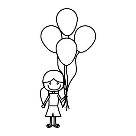 pigtail: monochrome contour of caricature of smiling girl with short pants and pigtails hairstyle and many balloons vector illustration Illustration
