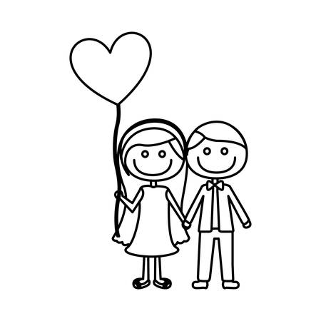 monochrome contour of caricature of couple him in formal suit and her in dress with balloon in shape of heart vector illustration Illustration