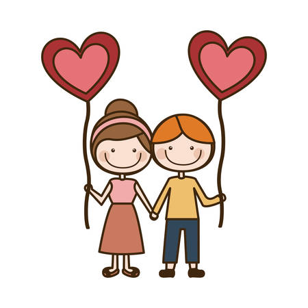 taken: Colorful caricature of boy and girl with balloon in shape of heart vector illustration