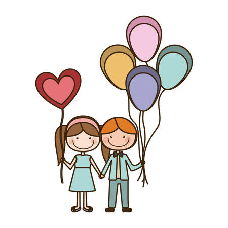 Colorful caricature of boy with many balloons and her with balloon in shape of heart vector illustration Illustration