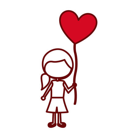footwear: red silhouette of caricature faceless girl with short pants and ponytail hair and balloon in shape of heart vector illustration