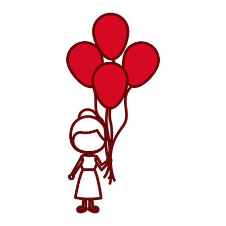 red silhouette of caricature faceless girl with dress and many balloons vector illustration Illustration