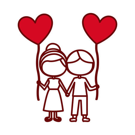 red silhouette of caricature faceless couple of boy and girl with balloon in shape of heart vector illustration Illustration