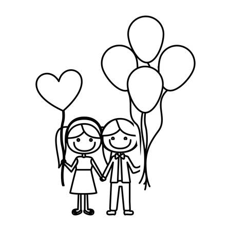 monochrome contour of caricature of boy with many balloons and her with balloon in shape of heart vector illustration