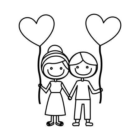 monochrome contour of caricature of boy and girl with balloon in shape of heart vector illustration Illustration