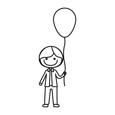 monochrome contour of caricature of smile kid with bow tie and balloon vector illustration