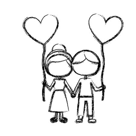 monochrome sketch of caricature faceless couple of boy and girl with balloon in shape of heart vector illustration