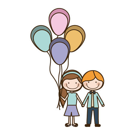 colorful caricature of boy short hair and girl with side hairstyle with many balloons vector illustration Illustration