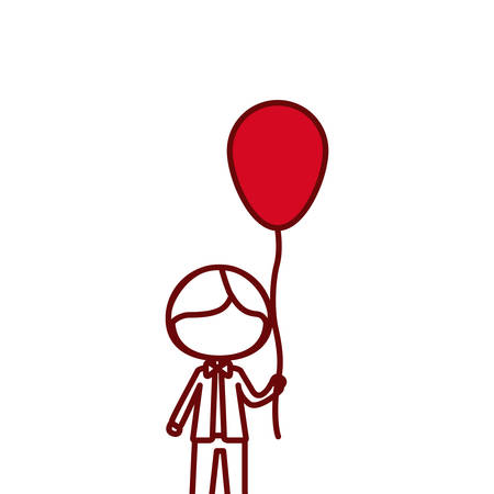 red silhouette of caricature of faceless kid with bow tie and balloon