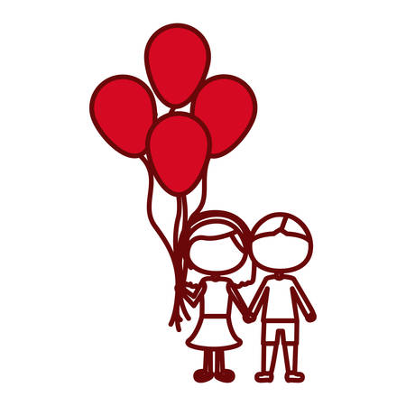 red silhouette of caricature faceless couple in suit informal with many balloons vector illustration