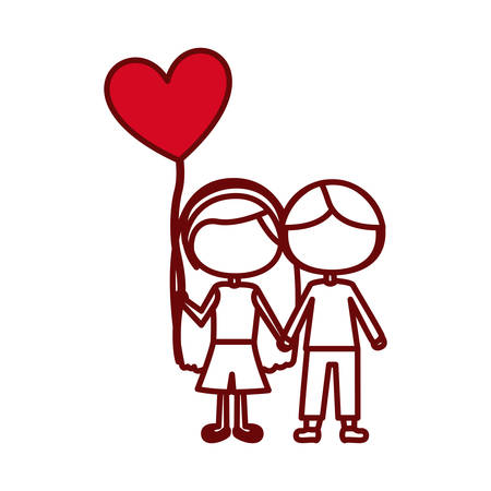 red silhouette of caricature faceless couple kids in casual clothes with balloon in shape of heart vector illustration Illustration