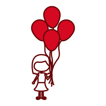 red silhouette of caricature faceless girl with dress and short hair and many balloons vector illustration