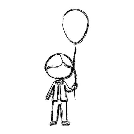 monochrome sketch of caricature faceless kid with bow tie and balloon vector illustration