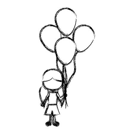 monochrome sketch of caricature faceless girl with short pants and pigtails hairstyle and many balloons vector illustration Illustration