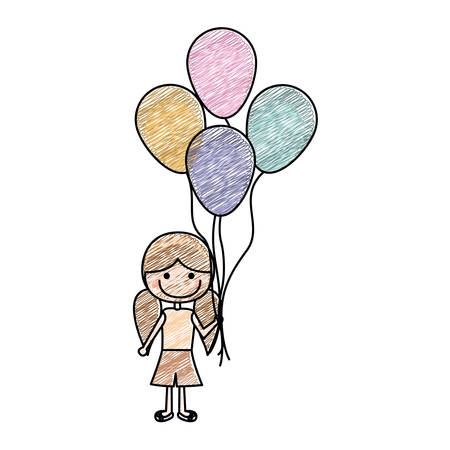 pigtail: color pencil drawing of caricature of smiling girl with short pants and pigtails hairstyle and many balloons vector illustration
