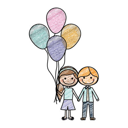 duo: color pencil drawing of caricature of boy short hair and girl with side hairstyle with many balloons vector illustration Illustration