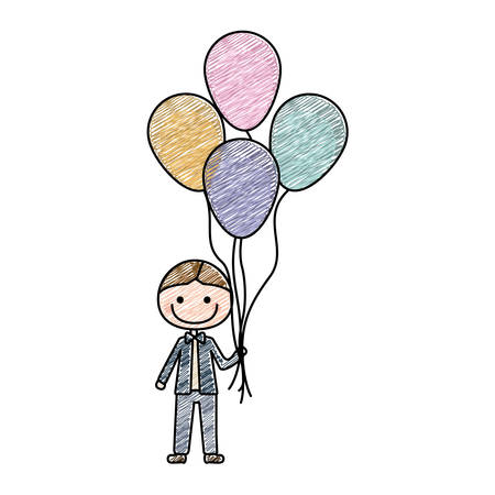 color pencil drawing of caricature of smiling kid with bow tie and many balloons vector illustration Illustration