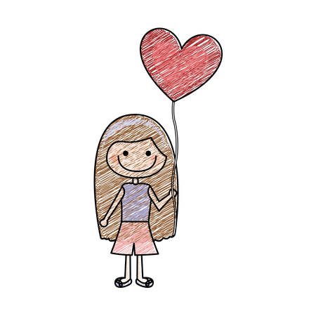 color pencil drawing of caricature of smiling girl with t-shirt and short pants and balloon in shape of heart vector illustration Illustration