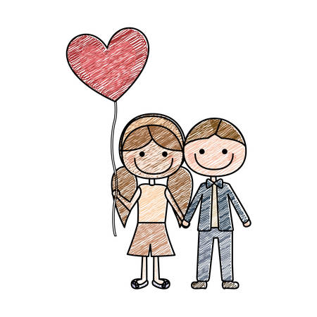 color pencil drawing of caricature of boy short hair and girl with pigtails hair with balloon in shape of heart vector illustration Illustration