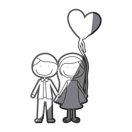 grayscale silhouette of caricature couple of him in formal suit and her in dress with balloon in shape of heart vector illustration
