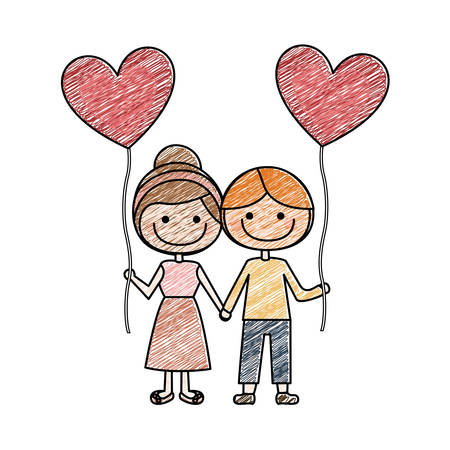 color pencil drawing of caricature of boy and girl with balloon in shape of heart vector illustration