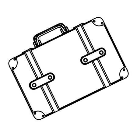 handgrip: monochrome silhouette with suitcase in diagonal position vector illustration