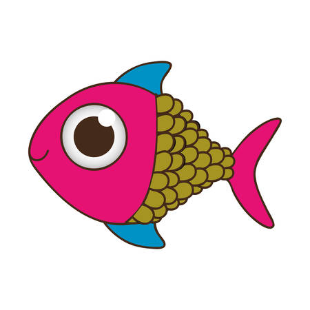 silhouette color fish with big eye vector illustration